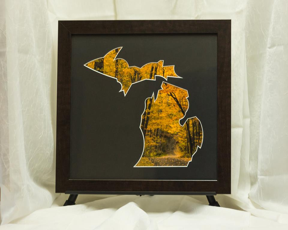 Fall color scene in custom mat and frame. Autumn leaves.