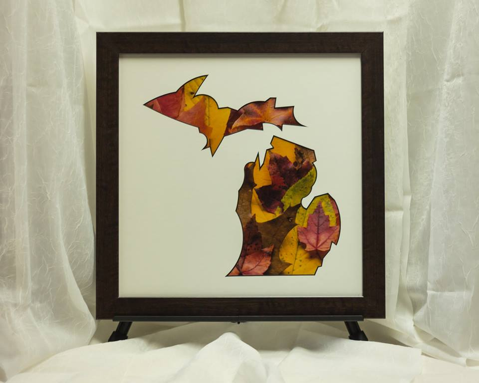 Autumn leaves, fall scene. Custom mat and frame.